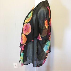 Susan Graver Jackets & Coats - Susan Graver Kimono XS Black,Yellow, Pinks,Orange